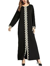 Zhhlinyuan Casual Flowy Caftan Kaftan Dubai Marocain Longue Robe Longue Noir  Abaya Robes pour Femme Mode 8677ae55119