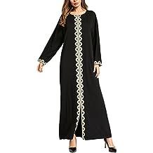 Zhhlinyuan Casual Flowy Caftan Kaftan Dubai Marocain Longue Robe Longue  Noir Abaya Robes pour Femme Mode ac8e2dd8bcd