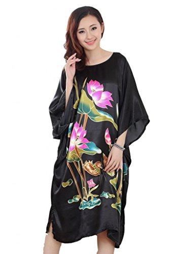 JTC Femmes Robe/Vêtement de Nuit Grande Fleur-Soie mélangé-4 Styles(Lotus-Noir) JTC