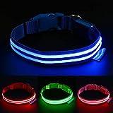 Pawow LED Hundehalsband Aufladbar, Leuchthalsband für Hunde Sicherheit LED Halsbänder Längenverstellbarer Hunde Halsband für Hunde und Katzen