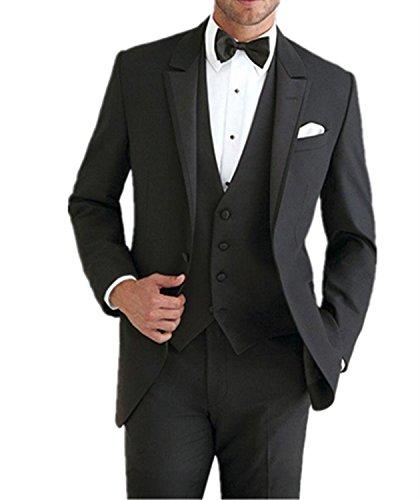 TPSAADE 2017 Custom Made Mode schwarz 3 Stück Männer passt Terno Slim Hochzeit Party Prom Mann Smoking Anzug Jacke + Hose + Weste + Krawatte - Kostüm Homme Slim