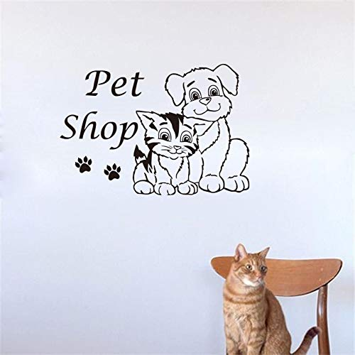Cute Pet Shop Vinyl Wall Sticker Cat And Dog Grooming Salon Decal Schlafzimmer Wall Paper Remotable Kids Room Wall Decals Home Decor 64x44cm