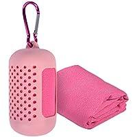 Volenx Mikrofaser Handtuch in 5 Farben - Klein, Leicht und Ultra Saugfähig - Ideal als Reisehandtuch, Sporthandtuch (Rosa)