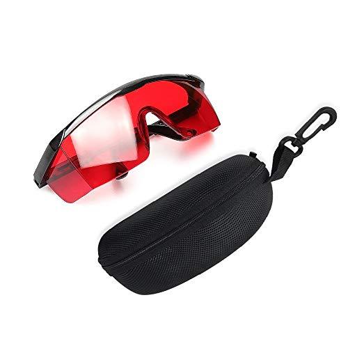 Huepar GL01R Rot Laserlichtbrille - Roter Laserbrille für Roter Strahl Kreuzlinienlaser, Rotationslaser und Mehrlinienlaser - zur Verbesserung der Sichtbarkeit des Roter Strahls (inkl. Schutzbox)