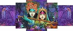 SAF Set of 5 Radhe Krishna with couple Peacock Modern Art UV Textured Self Adhesive Painting 42 Inch X 18 Inch, Multicolor - SANFPNL31986