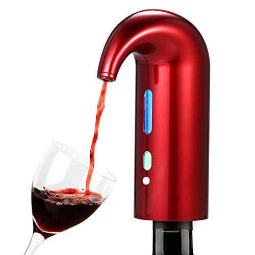 BAIVIN Decantador electrónico Vino rápido oxigenado Vertidor eléctrico Dispensador de Vino Rojo Vino Accesorios Regalo, Red