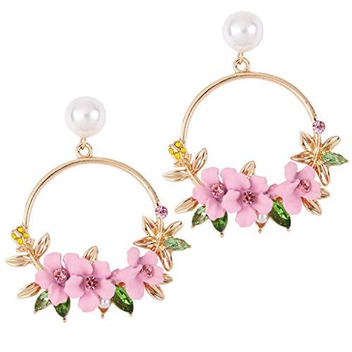 YULAND Ohrstecker Ohrringe Damen Ohrhänger für Frauen Ohrschmuck - Farbe Blume Metall Großer Kreis Ohrringe Ohrringe Temperament Weiblich Wild Einfach