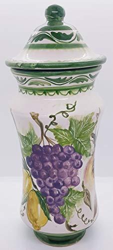 Barattolo porta spezie albarello linea frutta mista ceramica le ceramiche del castello realizzato e decorato a mano pezzo unico made in italy dimensioni: 31 x 15 centimetri
