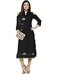Ziyaa Women's Black Color Foil Print Straight Kurta