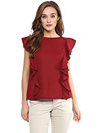 Miss Chase Women's Solid Sleeveless Round Neck Ruffled Tops