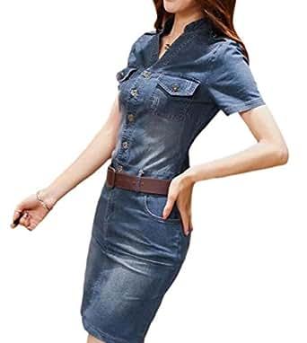 3e19272882 cfzsyyw Women Buttons Long Sleeve V Neck Pockets Denim Bodycon Mini Dress 1  XS