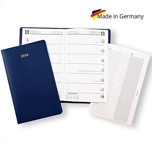 Wochentaschenkalender Sekunda 2019, Kalendarium in Blau mit Adressheft und PVC-Hülle in Blau, Made in Germany