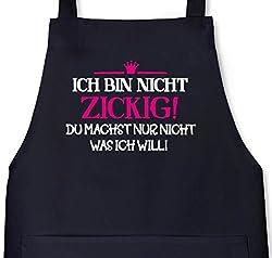 Ich bin nicht zickig! Prinzessin Grillen Barbecue Grill Schürze Kochschürze Latzschürze, Größe: onesize,Schwarz