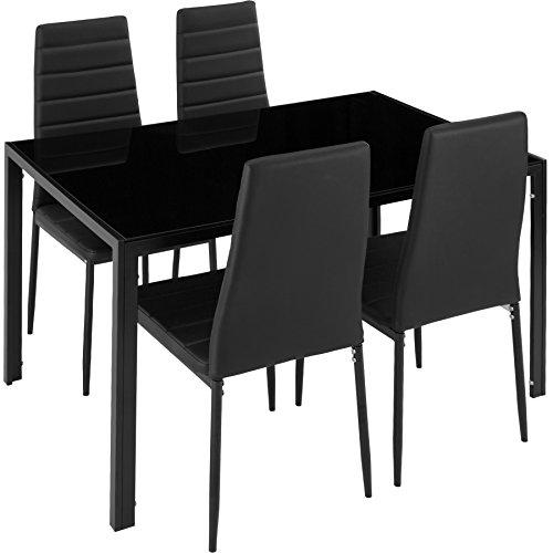 TecTake Esszimmergruppe mit Esstisch und 4 Essstühlen | Strapazierfähiges Kunstleder | Robuste Tischplatte aus Sicherheitsglas - Diverse Farben (Schwarz | Nr. 402837) -