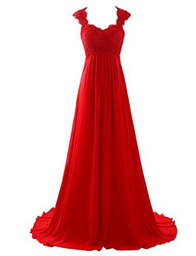 Erosebridal Ärmellos Spitze Chiffon Hochzeitskleid Brautkleid Rot DE40