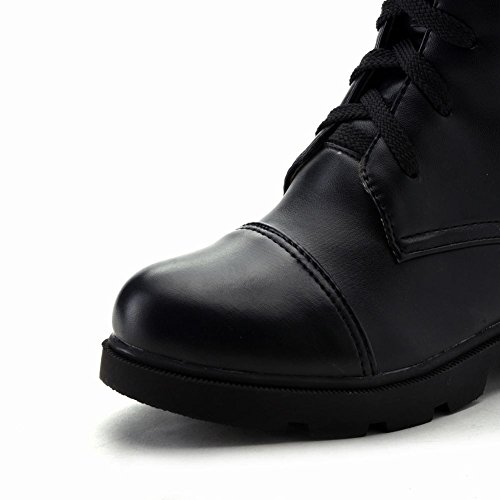 Misssasa Femme Chaussures À Talon Bas Élégant Et Punk Bottes Noir