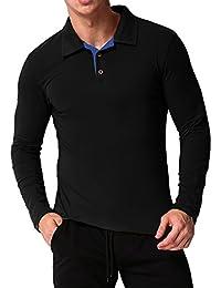 MODCHOK Homme Polo T-shirt Manche Longue Top Tee Chemise Coton Casual Classique