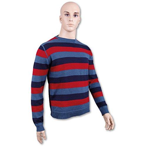 Pullover Feinstrick Blockstreifen Herren Strickpullover Streetwear Menswear Rundhals Pulli taubenblau - dunkelblau - rot
