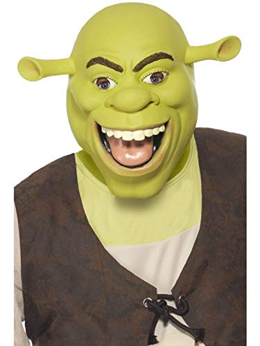 �m Accessoires Zubehör Herren Shrek Latex Maske, perfekt für Karneval, Fasching und Fastnacht, Grün ()
