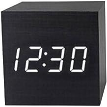 Bobury Reloj de madera de madera moderno de Digitaces LED Reloj del termómetro del reloj de alarma Calendario