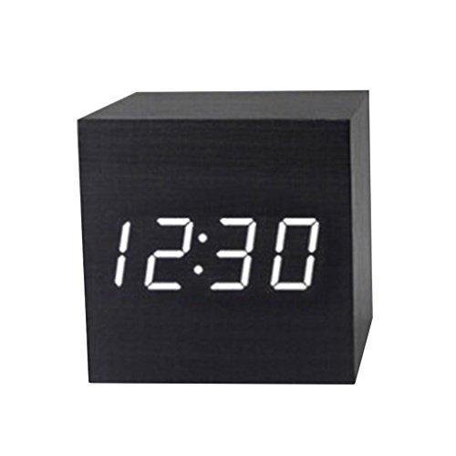 Bobury Moderner hölzerner Digital LED Schreibtisch Wecker Thermometer Timer Kalender