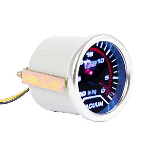 Mintice 12V Auto Motore 2' 52mm Universale Manometro bianca LED digitale leggero Manometro a vuoto Misuratore di misura Fumo viso tinta
