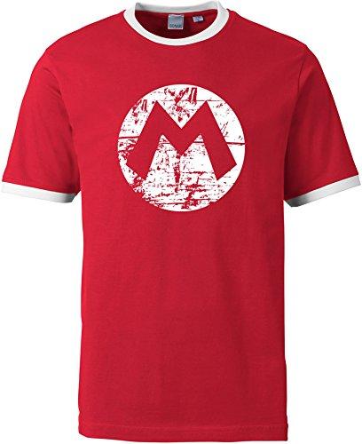 EZYshirt Mario Herren T-Shirt Rundhals Ringer - Super Mario Toad Kostüm Bros