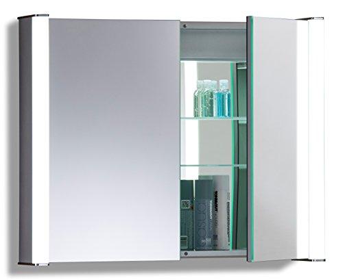 LED beleuchteter Badezimmer Spiegelschrank (Tageslichtweiß bei 6500K) TÜV geprüft mit Antibeschlag-Pad ohne sichtbare Kabel, Steckdose, Sensor-Schalter und