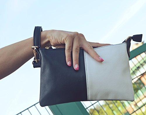 Vain Secrets Umhängetasche Clutch kleine Abendtasche mit Schulterriemen und Handgelenk Schlaufe Schwarz/Weiß