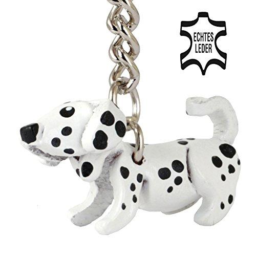 Dalmatiner Daisy - Hunde Deko Schlüsselanhänger Figur aus Leder in der Kategorie Stofftier / Kuscheltier / Plueschtier von Monkimau in weiß schwarz gepunktet - Dein bester Freund. Immer dabei! - ca. 2cm, jeweils 1 Stück (Weiß klein) (Daisy Strümpfe)