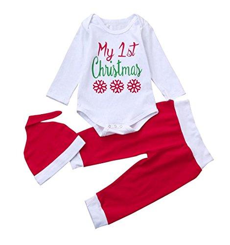 """✽ZEZKT-Baby✽ Babykleidung """"baby's first Christmas"""" Neugeboren Kleider Lange Ärmel Outfit Set Babymützen 3 Stück Spielanzug + Hose + Hut Set Junge Mädchen Säugling Mode Outfits (3 Monate, Weiß)"""