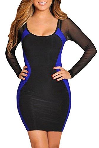 Dissa® femme Bleu Noir SY2970-2 robe de cocktail Bleu Noir