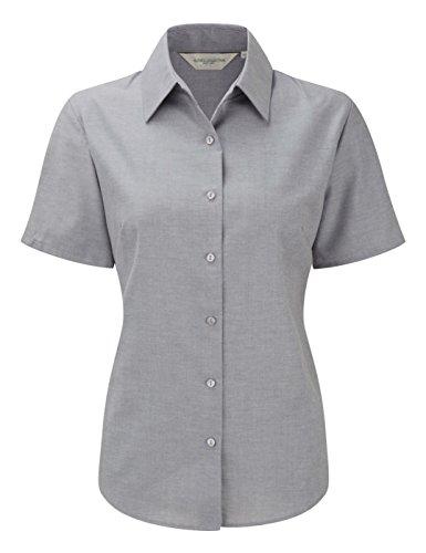 Russell Collection Damen Bluse Short Sleeve Shirt Oxford, pflegeleicht Silber - Silber