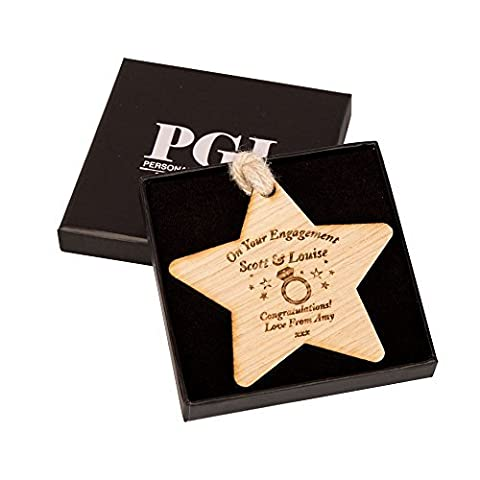 Personalised Engagement Wooden Star, Engaged Couple Gifts, Oak Decoration For The Home, Mr and Mrs To Be Presents by Personalised Gift Ideas