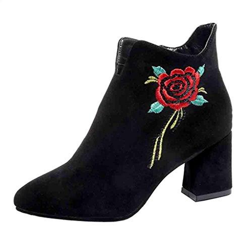 XINANTIME - Mujer Botines Mujer Flores Rose bordada Cuero Botas Zapatos de Tacón para Fiesta Oficina (38 EU, Negro)