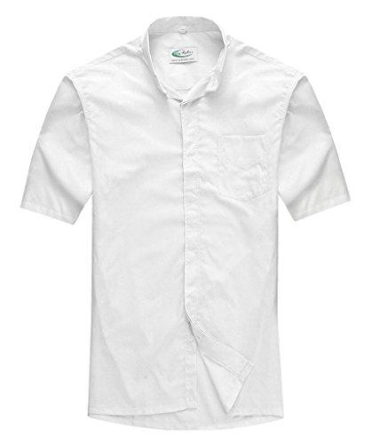 Ivyrobes Herren Kurzarm Hemd Priesterhemd mit Tab-Kragen Weiß