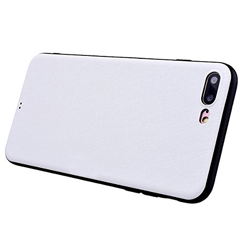 Yokata Cover per iPhone 7 Plus Custodia Soft Gel Silicone Molle di Flessibile TPU Morbido Case Protezione Backcover Caso Gomma Bumper Protettiva Shell + Penna - Nero Bianco