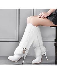 ZH Zapatos de Invierno en Punta Plataforma Impermeable Fina con Botas Altas,Blanco,38