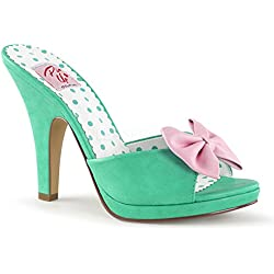 Pin Up Couture SIREN-03 Teal-Pink Faux Leather