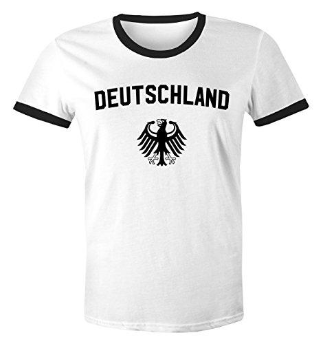 MoonWorks WM Shirt 2018 Fußball Deutschland Adler Wappen Herren Retro weiß-schwarz L