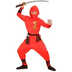 Nerd Clear® Ninja - Disfraz para niños y niñas, Color Negro y Rojo, Ideal para Carnaval, 128