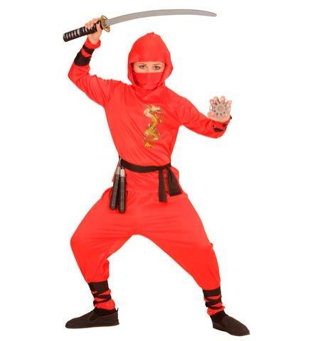 Ninja Mädchen Junge Und Kostüm - Nerd Clear Ninja Kostüm für Jungen & Mädchen | schwarz & rot | ideal für Karneval & Fasching: : 128