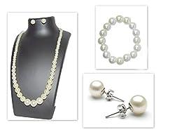 Padmas Jewellery Pearl jewellery Set (Chain, Earings, Bracelet)