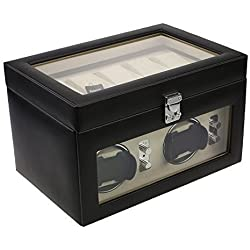 BRAND NEW MODEL Dulwich Genuine Leather Dual Watch Winder and 5 Watch Storage Cushions, Perfect for Breitling Rolex Omega Cartier Tag Heuer Hublot etc