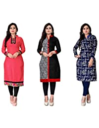 509af1cc32a Kesari King Women s A-Line Pack Of 3 Cotton Printed Semi Stiched Kurti  Material(
