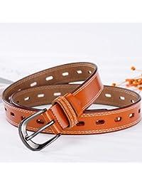 Cinturón de cuero para mujer Pin Hebilla Cinturón de cuero Versión coreana  de The Hollow Cintura delgada Joker… 58966b1accd1