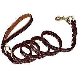 Correa de cuero para entrenamiento de perros Caminar con costuras dobles, Correa de perro fuerte con mango y cierre durable Proteger la seguridad del perro para perros grandes / medianos / pequeños