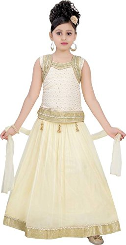 Saarah Girls Ethnic Wear Beige Color Self Design Lehenga, Choli and Dupatta...