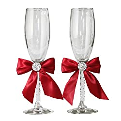 Jamie Lynn Red Allure Collection Toasting Flutes, Set of 2