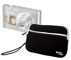 DURAGADGET Housse étui luxe en néoprène noir résistant à l'eau + poignée bonus pour appareil photo numérique compact Samsung Smart Camera DV300F et DV150F double écran avec technologie Wi-Fi intégrée – Garantie 2 ans